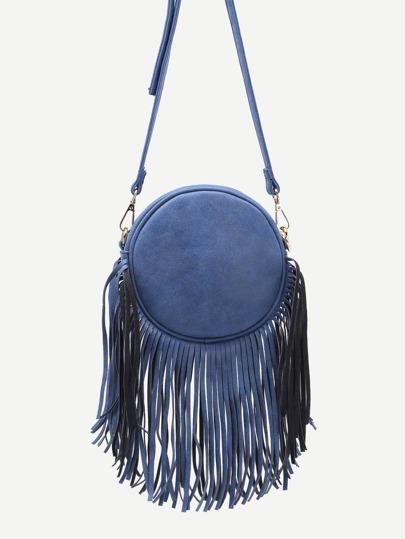 Blue Fringe Zip Pockets Round Crossbody Bag