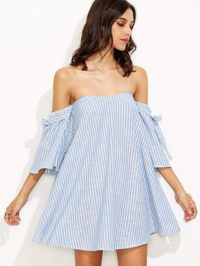 Vertical Striped Bardot Tie Sleeve Swing Dress
