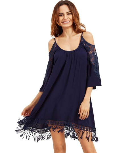 Deep Blue Open Shoulder Crochet Robe Tassel manches en dentelle