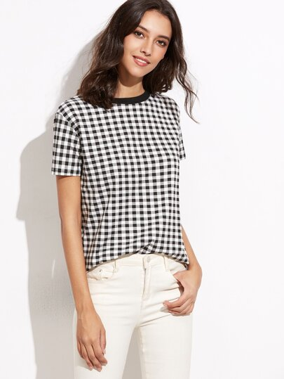Black And White Gingham T-shirt