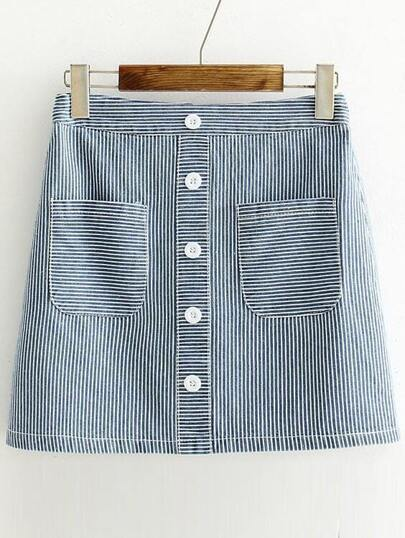 Blue Striped Single Breasted Denim Skirt
