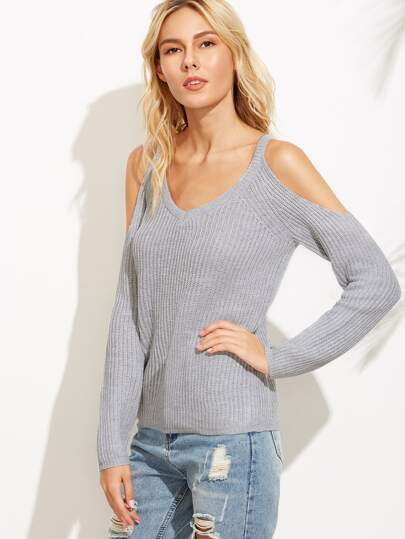 Grey Cold Shoulder Raglan Sleeve Sweater