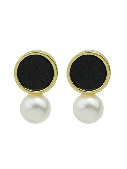 Black New Coming Imitation Pearl Small Stud Earrings