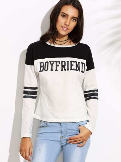 Color Block Letter Print Long Sleeve T-shirt