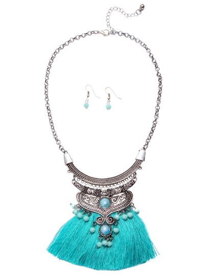 Green Fringe Bib Necklace Earrings Statement Jewelry Set