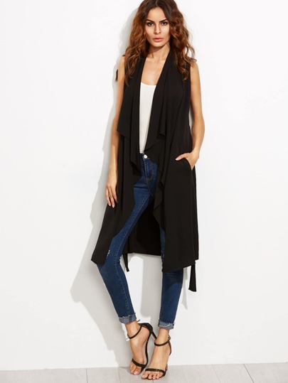 Black Waterfall Collar Long Wrap Vest