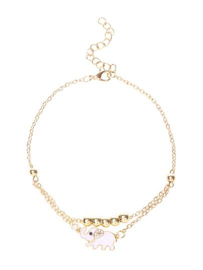 """Золотистый браслет-цепочка для ног с бисером""""Elephant"""""""