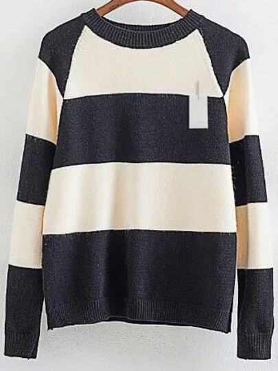 Black Color Block Ribbed Trim Raglan Sleeve Sweater
