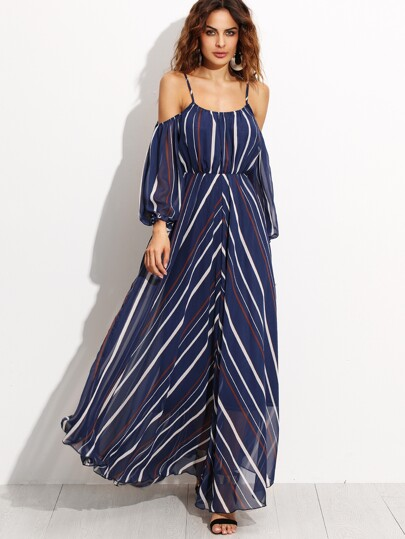 Navy Stripe Cold Shoulder Chiffon Dress