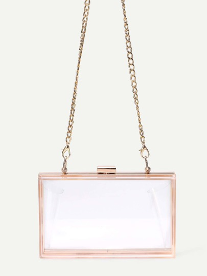 Clear Clasp Closure Box Bag With Chain Strap