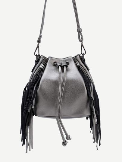 Silver Drawstring Closure Fringe Bucket Bag