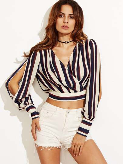 Multicolor Striped Split Sleeve Crop Blouse