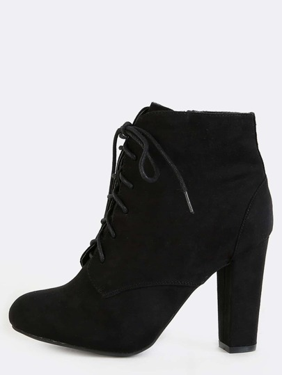 Chunky Heel Faux Suede Boots BLACK