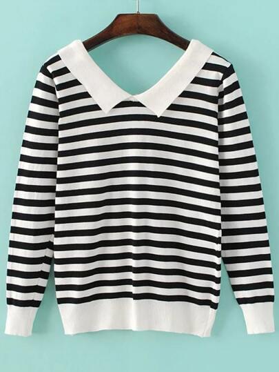 Black Chelsea Collar Striped Knitwear