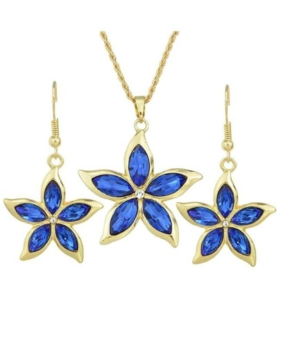 Darkblue Rhinestone Flower Jewelry Set