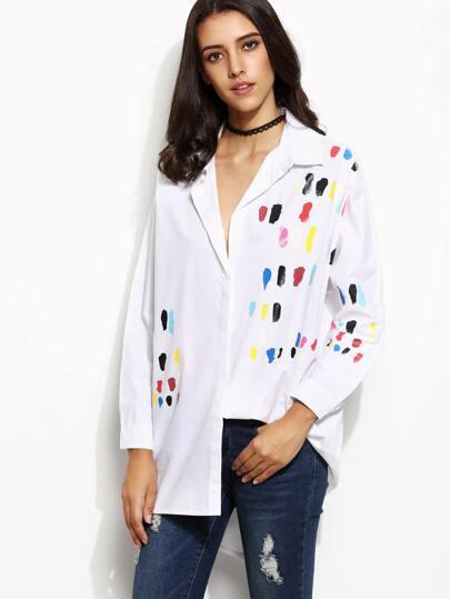 White Brushstroke Print High Low Shirt