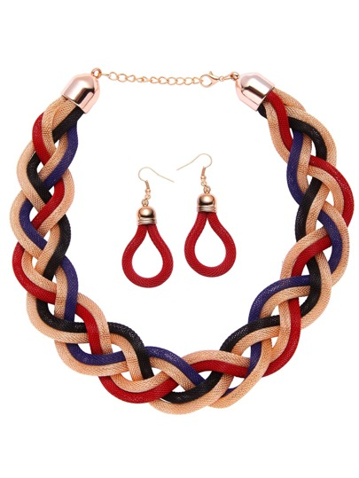 Multicolor Handmade Braided Rope Statement Jewelry Set