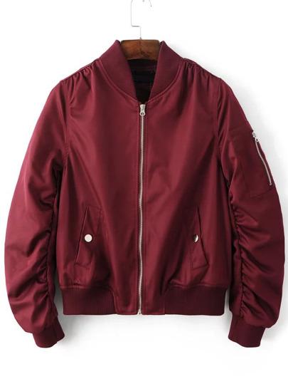 Flight Jacke mit Taschem Reißverschlussem -burgund rot