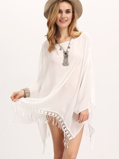 Beige Boat Neck Batwing Sleeve Tassel Loose Dress