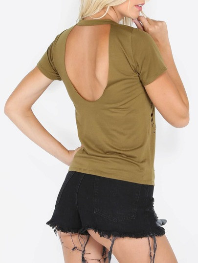 Army Green Short Sleeve Distressed Backless T-shirt