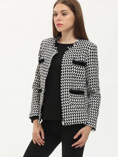 Black White Long Sleeve Houndstooth Jacket
