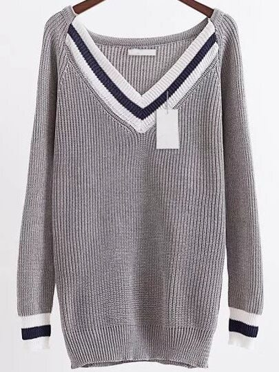 Grey Chevron Pattern V Neck Raglan Sleeve Long Sweater