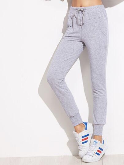 Grey Drawstring Waist Peg Pants