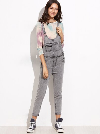 Grey Straps Bleach Wash Pocket Overall Jeans