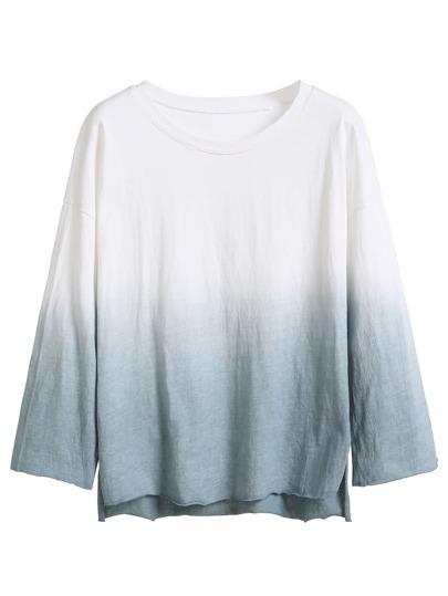 Ombre Drop Shoulder High Low T-shirt