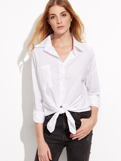 White Open Shoulder Knotted Hem Shirt