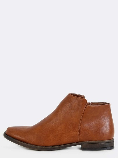 Low Cut Almond Toe Ankle Boots CHESTNUT