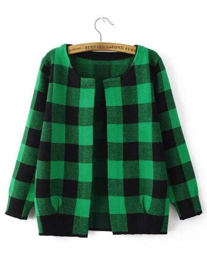 Green And Black Checkered Open Front Cardigan