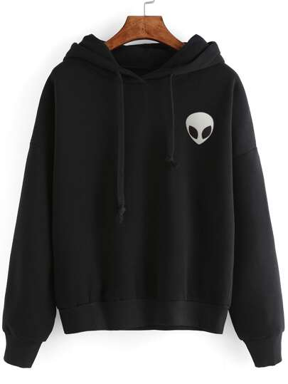 Alien Print Hooded Sweatshirt