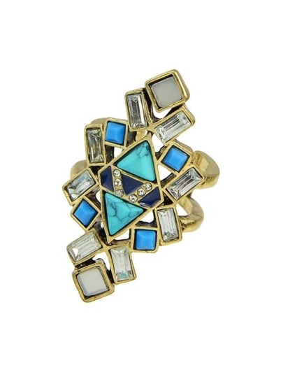 Vintage Acrylic Stone Statement Cuff Finger Ring