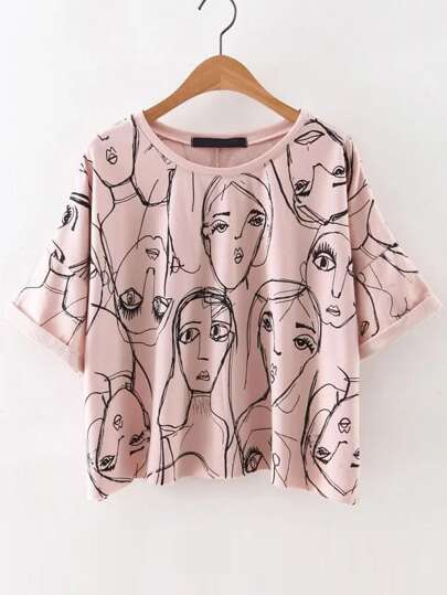 Pink Portrait Print Roll Sleeve T-Shirt