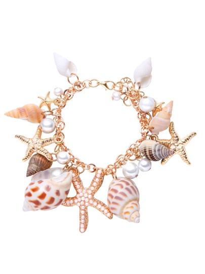 Multi-Element Beach Shell Bracelet