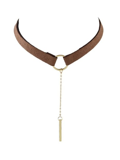 Gold Brown PU Leather Choker Necklace With Long Chain