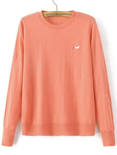 Orange Seagull Embroidered Ribbed Trim Knitwear