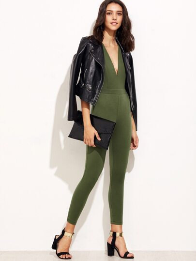 Army Green Backless Deep V Neck Sleeveless Jumpsuit