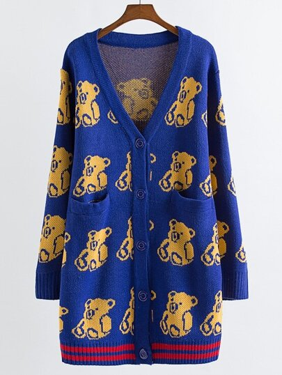 Blue Bear Pattern Button Front Sweater Coat With Pockets