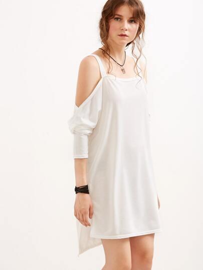 White Cold Shoulder Slit Side High Low Dress