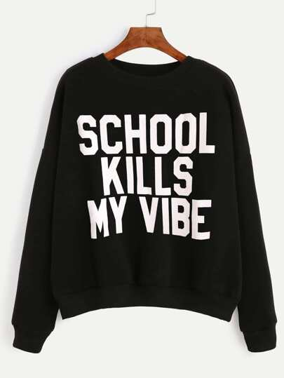 Letter Print Drop Shoulder Sweatshirt