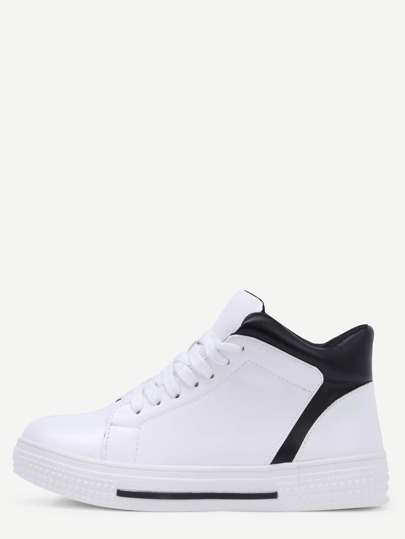 White Round Toe Lace Up High Top Sneakers