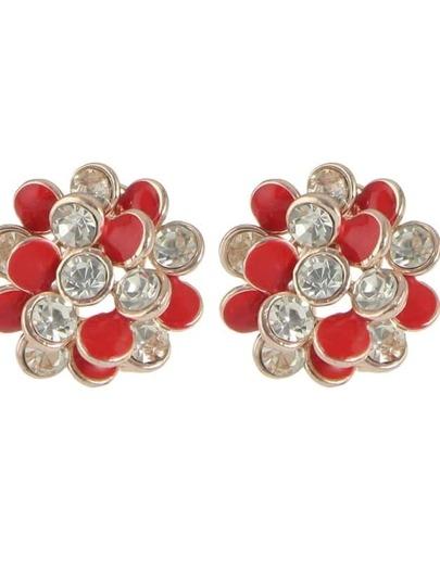 Red New Rhinestone Enamel Flower Stud Earrings For Women