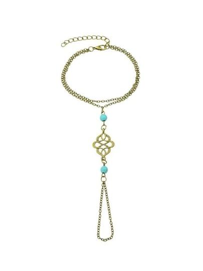 Adjustable Chain Link Bracelet With Finger Ring
