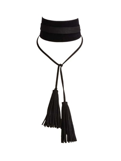 Black Gothic Design Wide Pu Leather Choker Necklace With Long Tassel