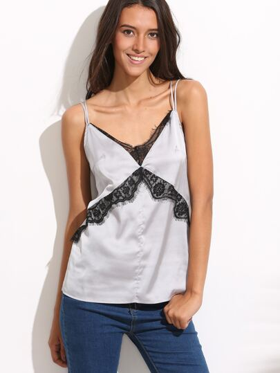 Silver Lace Trim Crisscross Back Cami Top