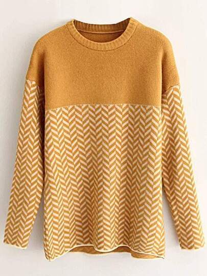 Ginger Wave Patterned Drop Shoulder Sweater