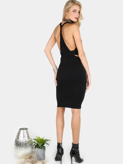 Cut Out Wrap Tie Dress BLACK