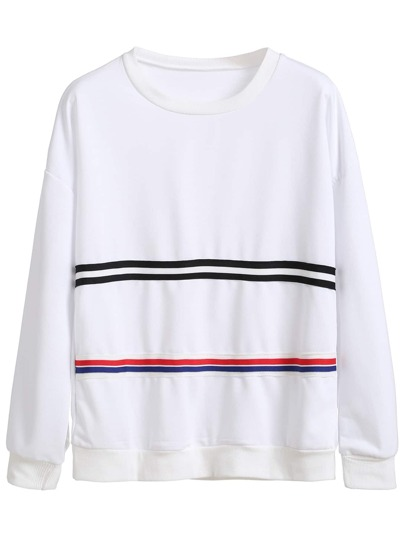 White Striped Contrast Drop Shoulder Sweatshirt